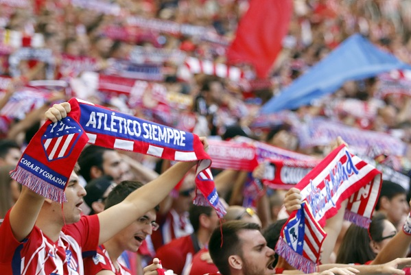 Atlético Madrid fans during a game at Wanda Metropolitano